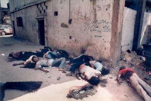 Cuerpos de Palestino asesinados por ordenes de Sharon, en Shatila